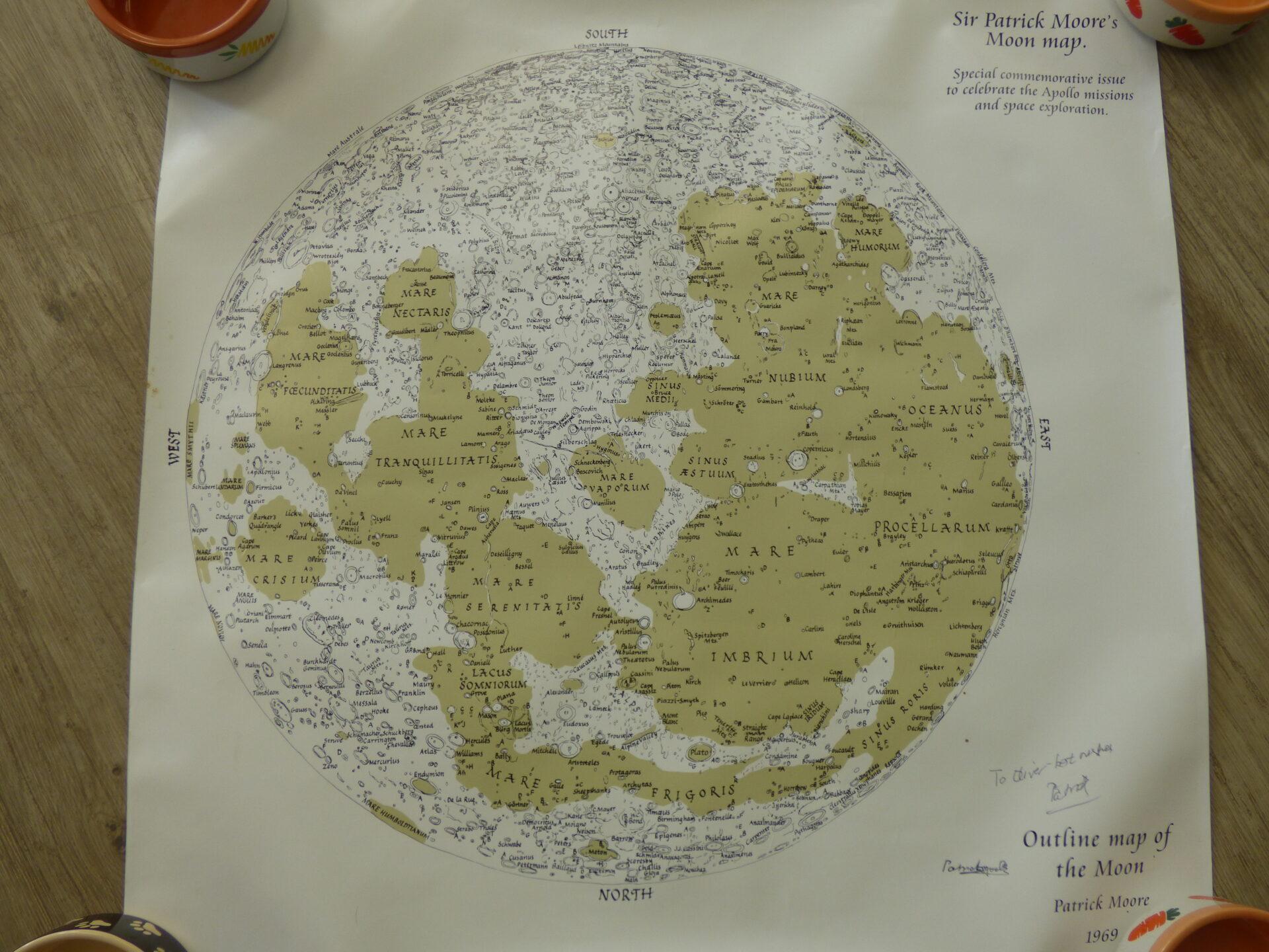 Signed Patrick Moore Moon Map Print