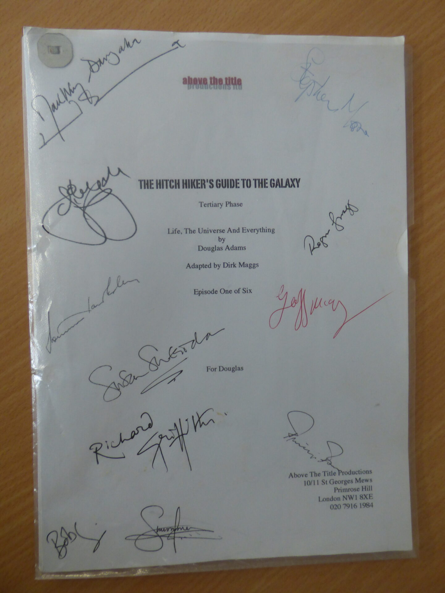Hitchhikers Guide to the Galaxy signed script